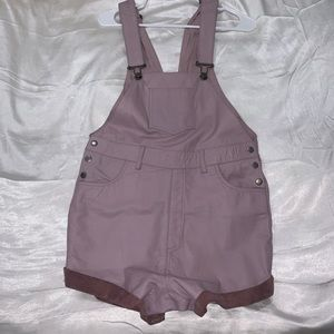 Leather lavender overalls